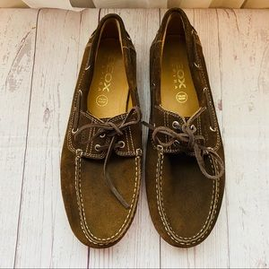 Geox Lace Suede Brown Driving Shoes SZ 42